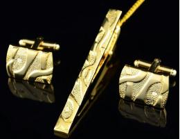 зажим для галстука и запонки под золото, модель 31