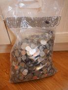 Иностранные монеты со всего мира в мешке, 10кг