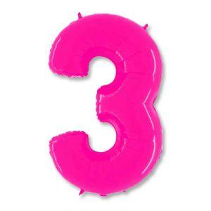 Шар цифра 3 (ярко -розовая)