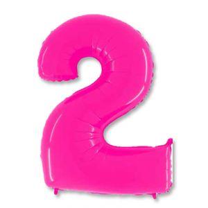 Шар цифра 2 (ярко -розовая)