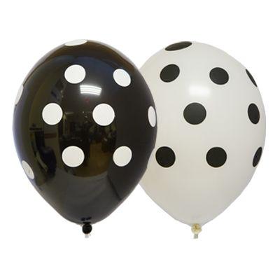 Горошек черно-белые латексные шары с гелием