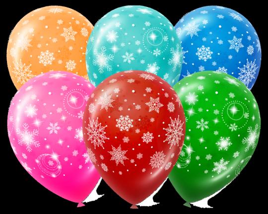 Снежинки латексные шары с гелием