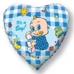 Сердце для любимого малыша - мальчика шар фольгированный с гелием