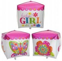 Куб для девочки фольгированный шар с гелием