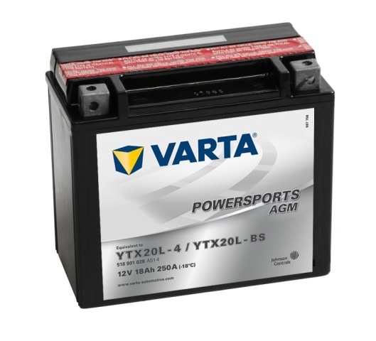 Мото аккумулятор АКБ VARTA (ВАРТА) AGM 518 901 026 A514 YTX20L-4 / YTX20L-BS 18Ач о.п.