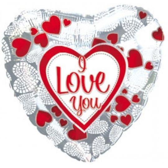 I love you серебро шар фольгированный сердце с гелием