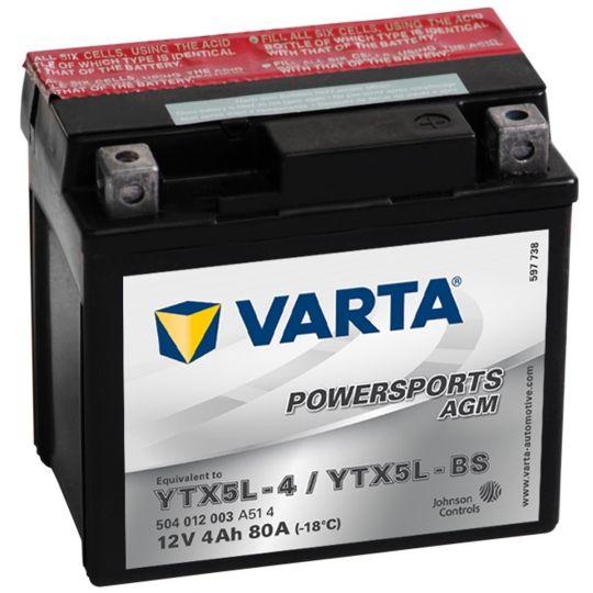 Мото аккумулятор АКБ VARTA (ВАРТА) AGM 504 012 003 A514 YTX5L-4 / YTX5L-BS 4Ач о.п.