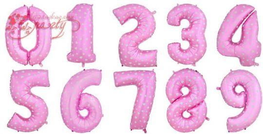 Цифры розовые с сердечками фольгированные шары с гелием