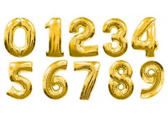 Цифры золото фольгированные шары с гелием