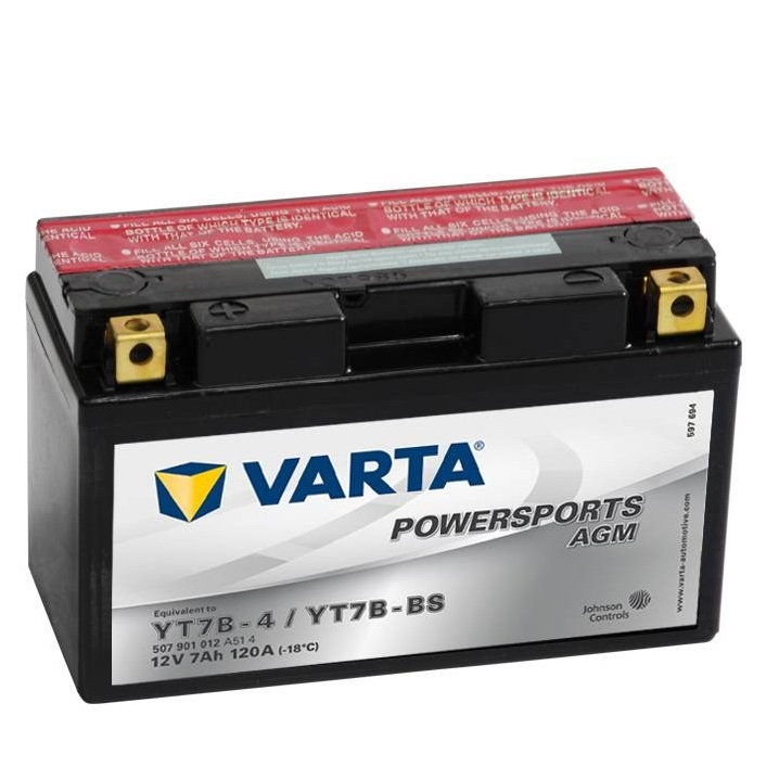 Мото аккумулятор АКБ VARTA (ВАРТА) AGM 507 901 012 A514 YT7B-4 / YT7B-BS 7Ач п.п.
