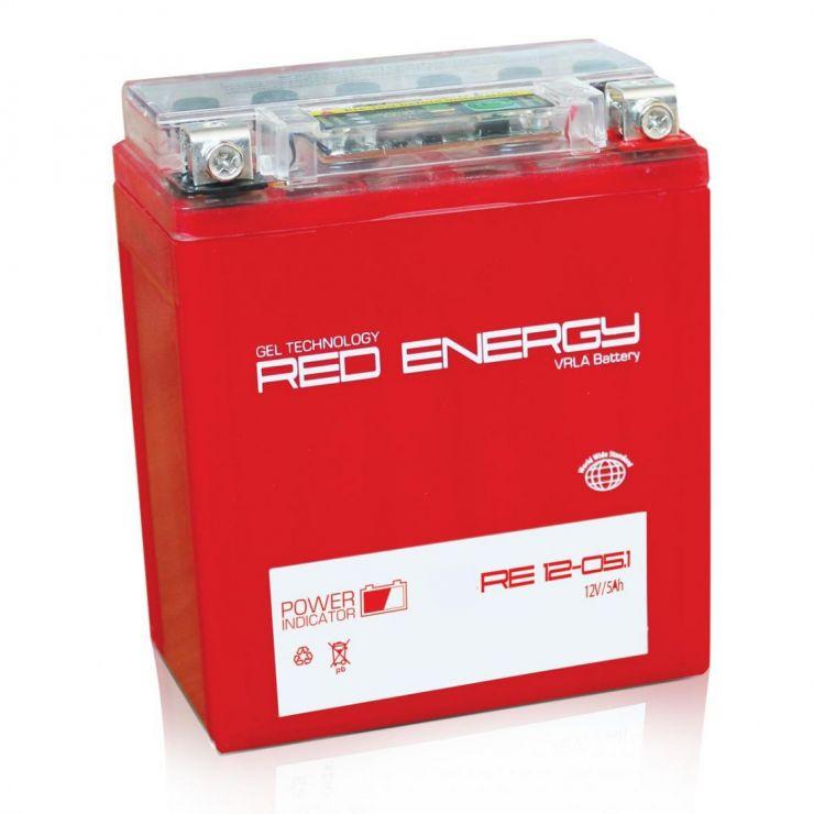 Аккумуляторная батарея АКБ RED ENERGY (РЭД ЭНЕРДЖИ) GEL 1205.1 YB5L-B, 12N5-3B 5Ач о.п.