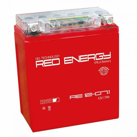 Аккумуляторная батарея АКБ RED ENERGY (РЭД ЭНЕРДЖИ) GEL 1207.1 YTX7L-BS 7Ач о.п.