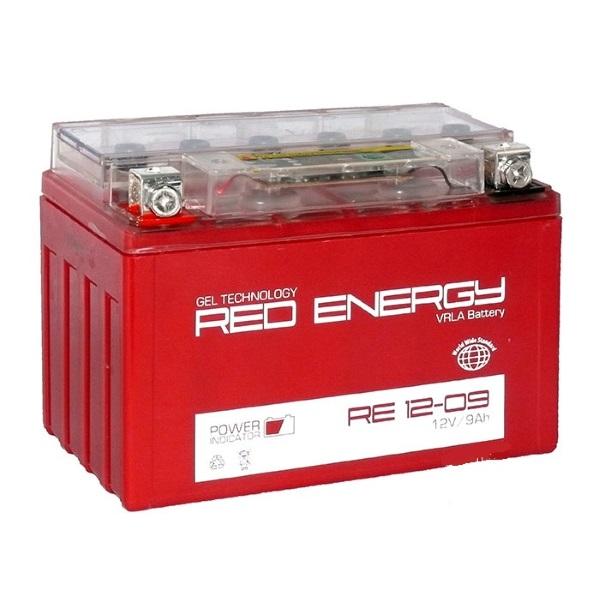 Аккумуляторная батарея АКБ RED ENERGY (РЭД ЭНЕРДЖИ) GEL 1209 YTX9-BS 9Ач п.п.