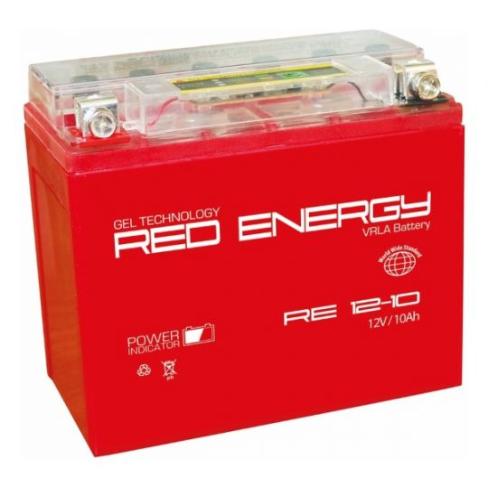 Аккумуляторная батарея АКБ RED ENERGY (РЭД ЭНЕРДЖИ) GEL 1210 YB9A-A, YB9-B, 12N9-4B-1 10Ач п.п.