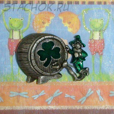 """Брошь """"Ирландец у бочонка с пивом"""" под олово/эмаль"""