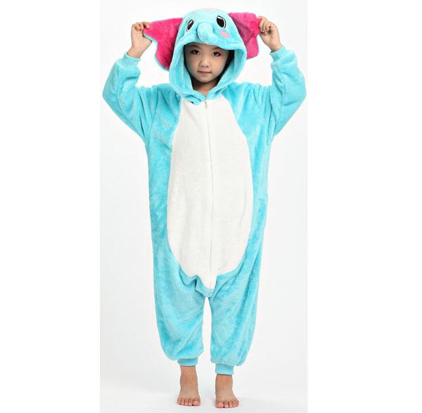 Пижама Кигуруми Детская Слон Голубой_01