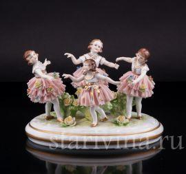 Танцующие девочки, кружевные, Muller & Co, Volkstedt, Германия, 1920-30 гг