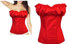 корсет красный, с молнией и шнуровкой, размер 40-48, чашка В,С, модель 152
