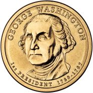 1-й президент США. Джордж Вашингтон 1 доллар США