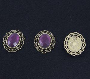 Кабошон со стразой, овал, цвет основы - медь, стразы - фиолетовый, 29х24 мм (1уп = 10шт)