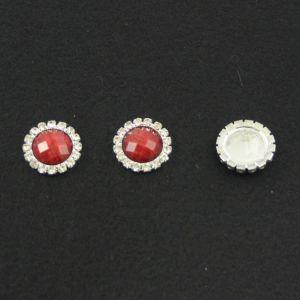 Кабошон со стразами, круглый, цвет основы - серебро, стразы - красный мрамор, 20 мм (1уп = 10шт)