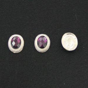 Кабошон со стразой, овал, цвет основы - золото, стразы - фиолетовый, 21х16 мм (1уп = 10шт)