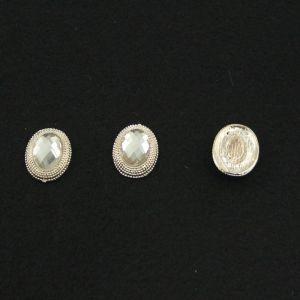 Кабошон со стразой, овал, цвет основы - золото, стразы - прозрачный, 21х16 мм (1уп = 10шт)