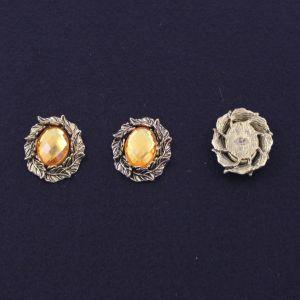 """Кабошон со стразой """"Листики"""", овал, цвет основы - медь, стразы - желтый, 31х25 мм (1уп = 10шт)"""