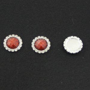 `Кабошон со стразами, круглый, цвет основы - серебро, стразы - коричневый мрамор, 20 мм