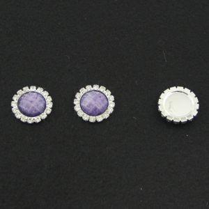`Кабошон со стразами, круглый, цвет основы - серебро, стразы - сиреневый мрамор, 20 мм