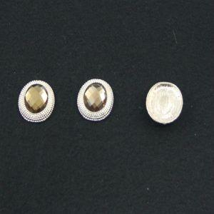 `Кабошон со стразой, овал, цвет основы - золото, стразы - светло-коричневый, 21х16 мм