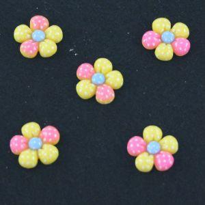 "Кабошон ""Цветок в точку"", пластик, 18 мм, цвет - желтый (1уп=50шт)"