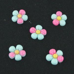 "Кабошон ""Цветок в точку"", пластик, 18 мм, цвет - светло-зеленый (1уп=50шт)"