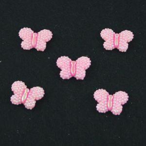 """Кабошон """"Бабочка блестки"""", пластик, 22*17 мм, цвет - розовый (1уп=50шт)"""