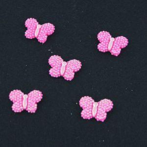"""Кабошон """"Бабочка блестки"""", пластик, 22*17 мм, цвет - ярко-розовый (1уп=50шт)"""