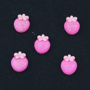 "Кабошон ""Клубничка блестки"", пластик, 20*16 мм, цвет - ярко-розовый (1уп=50шт)"