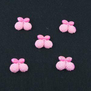 "Кабошон ""Вишня блестки"", пластик, 22*19 мм, цвет - розовый (1уп=50шт)"