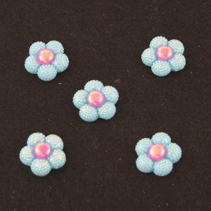"Кабошон ""Цветок блестки"", пластик, 20 мм, цвет - голубой (1уп=50шт)"