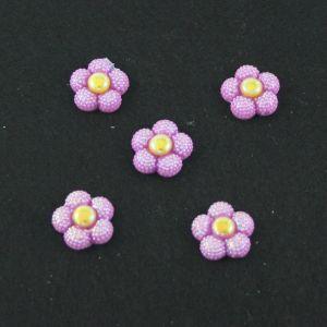 "Кабошон ""Цветок блестки"", пластик, 20 мм, цвет - фиолетовый (1уп=50шт)"