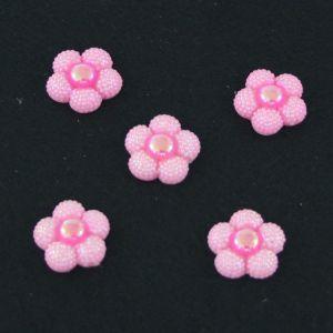 "Кабошон ""Цветок блестки"", пластик, 20 мм, цвет - розовый (1уп=50шт)"