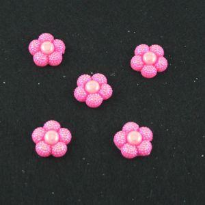"Кабошон ""Цветок блестки"", пластик, 20 мм, цвет - ярко-розовый (1уп=50шт)"