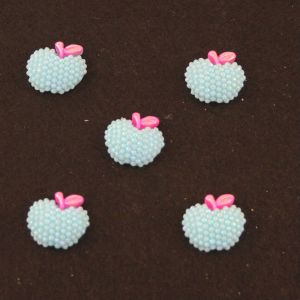 "Кабошон ""Яблоко блестки"", пластик, 19*18 мм, цвет - голубой (1уп=50шт)"