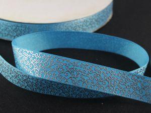 Лента репсовая с рисунком, ширина 22 мм, длина 10 метров цвет: голубой, Арт. ЛР5197-2