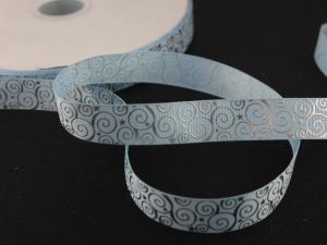 Лента репсовая с рисунком, ширина 22 мм, длина 10 метров цвет: светло-голубой, Арт. ЛР5194-6
