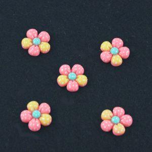"""`Кабошон """"Цветок в точку"""", пластик, 18 мм, цвет - светло-розовый"""
