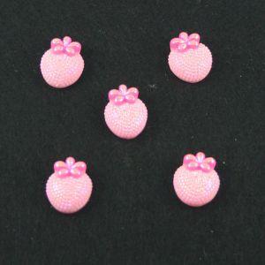 "`Кабошон ""Клубничка блестки"", пластик, 20*16 мм, цвет - розовый"