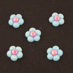 "`Кабошон ""Цветок блестки"", пластик, 20 мм, цвет - голубой"