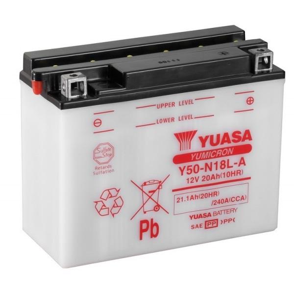 Мото аккумулятор АКБ YUASA (Юаса) Y50-N18L-A 20Ач о.п.