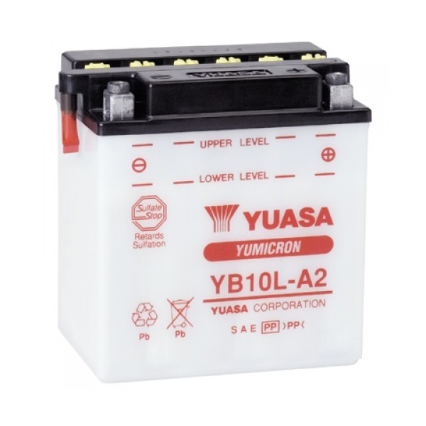 Мото аккумулятор АКБ YUASA (Юаса) YB10L-A2 с электролитом 11Ач о.п.