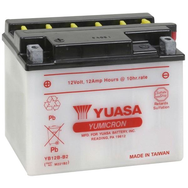 Мото аккумулятор АКБ YUASA (Юаса) YB12B-B2 12Ач п.п.